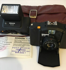 Minox 35 GT With TC 35 Flash & Original Leather Shoulder Bag Purchased 1/7/88