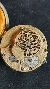 18th Century Verge Fusee W. Howards Pocket Watch Movement