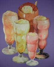 Original 1950s American Diner Paper Die Cut Signs - Soda/Floats/Shakes - Lot C