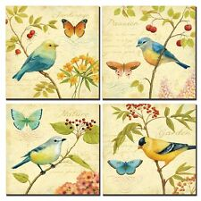 [Framed] Vintage Bird & Flowers Natural Canvas Art Print Picture Wall Home Decor