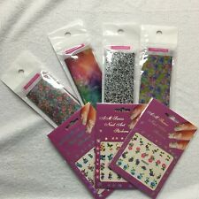 Nail Art Stickers Quick Art Film Mixed Lot Of 7 Flowers Tie-Dye Designs