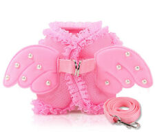 Pink Angel Wing Dog Harness With Leash Small Pets Puppy Vest Lead Leash Set