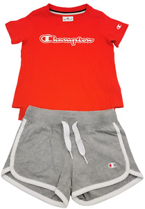 Champion Girls Set Top Shorts Light Cotton Jersey Tee Athletic Training Kids Red