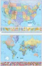 U. S and World Wall Map by American Map Publishing Staff (2000, Paperback)