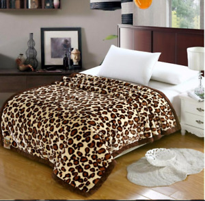 Heavy 930GSM Soft King Size Mink Blanket Double Layer Winter Throw 5kg Leopard