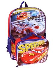 """DISNEY CARS McQUEEN 16"""" Full-Size Backpack w/Detachable Insulated Lunch Tote Box"""