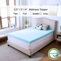 2.5/3/4 Inch Memory Foam Mattress Topper Lavender Gel Dot Queen King Twin Full