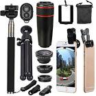 12Pcs 8X Telephoto Phone Camera Lens Kit Wide Angle Fish Eye Selfie Stick Tripod