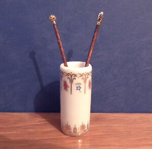 Dolls House Miniature Walking Stick Stand & 2x Handmade Cane Hall Umbrella LGW