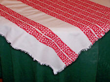 TURKEY REDWORK JACQUARD EMBROIDERED TABLE TOPPER, SLOVAKIAN FOLK ART, SNOWFLAKE