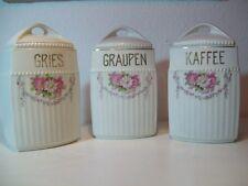 3 x Vorratsdose mit Deckel Porzellan Art Déco / Gries Graupen Kaffee