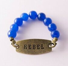 Blue Bronze Brass Rock Country Southern Charm Cowgirl Rebel Beaded Bracelet