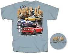"""Ford Mustang Stone Blue T-Shirt """"Pony Up!"""" NEW W/TAGS by Hot Rod Apparel, MEDIUM"""