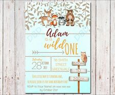 Woodland Theme First Birthday Wild One Invitation | Customised DIY PRINTABLE