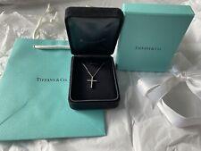 Authentic NEW Tiffany & CO 18k Necklace Diamond Cross Pendant White Gold