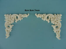 Decorative corner scrolls x 2 onlay resin furniture moulding applique Z10