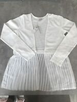 RIVER ISLAND GIRLS ROSA WHITE COTTON AND PLEATED SUMMER CARDIGAN SIZE 5-6