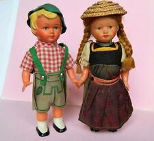 BOY & GIRL VINTAGE 1950s CELLULOID CLOCKWORK GERMAN COSTUME DOLLS WITH KEYS