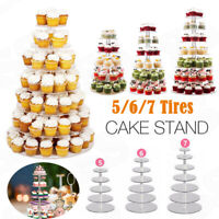 7 Tier Acrylic Cake Cupcake Stand Tray Dessert Display Tower Plate Wedding-Party