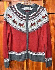 Ladies Cardinal  Bird  Winter  Cardigan  Sweater  size  medium