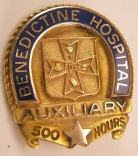 500 Hours Benedictine Hospital Auxiliary Vintage Lapel Pin Tie Tack