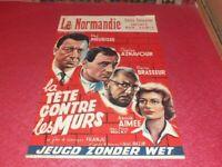 Cinema Plakat Original Belgisches - La Kopf Gegen Les Murs Franju Aznavour 1959