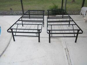Queen Size Foldable Metal Steel Bed Frame Black Set of 2