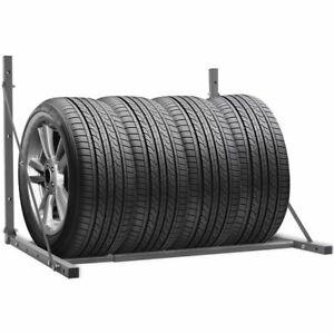 vidaXL Foldable Tyre Rack Silver Galvanised Steel Wheel Stand Holder Storage