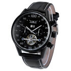 JARAGAR Tourbillon Day Date Automatic Mechanical Leather Strap Men Wrist Watch