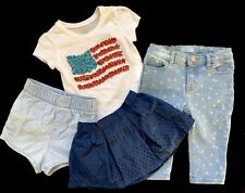 BABY GAP Girl's CLOTHING LOT Denim JEANS Skirt Shorts PLACE Top Sz: 12-18 months