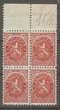 Bulgaria 1925 RRR VARIETY 15ct. block of 4 Different perfor. L 11,5 MNH** OG !!!