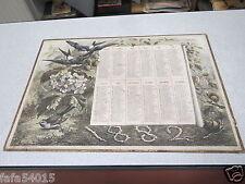 ALMANACH CALENDRIER année 1882 grand format 40 X 28,50 cm escargot nancy berger*