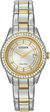 CITIZEN WOMENS $295 ECO-DRIVE DAZZLING CRYSTALS TWO-TONE WATCH! DATE FE1124-58A