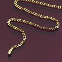 14K YELLOW GOLD PLATED CURB CHAIN SLIM NECKLACE 55CM 3MM CLASSIC FASHION JEWELRY