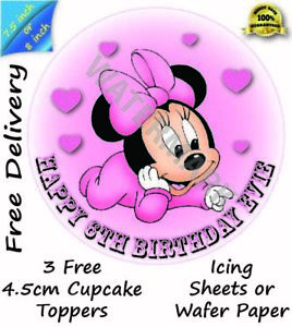 Edible Minnie Mouse Round Icing Cake Topper Cupcake Wafer