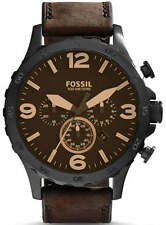 Fossil Nate Chronograph Brown Dial Brown Leather Men's Watch JR1487