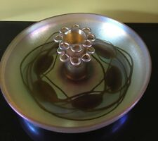 L.C. Tiffany-Favrile Art Glass : Lily Pads Bowl with 2 tier Flower Frog