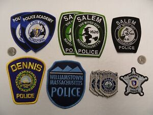 11 Mixed Lot MA MASSACHUSETTS PD POLICE SHERIFF ACADEMY K9 SALEM WITCH patches
