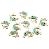 10pcs Dolphin Inlaid Beads Connector Alloy Charms DIY Jewelry Making 20*16mm