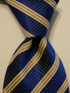 VALENTINO Men's Silk/Linen Necktie ITALY Designer STRIPED Blue/White/Gray GUC