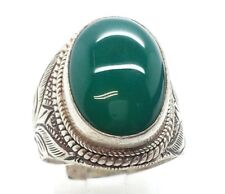 Sterling Silver 925 Ring 14g Sz9 M8201 Ethnic Ornate Oval Green Onyx Gem Design