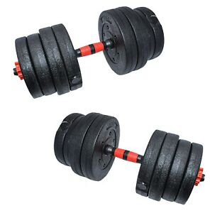 Adjustable 66lb Weight Dumbbell Set Home Body Fitness Gym Workout Rubber Cement