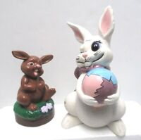 Vintage Easter Bunny Decor Lot of 2 Hand Painted Ceramic Bunnies Atlantic Mold