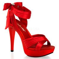 "5"" Heel Crisscross Red Satin Strap Platform Cocktail Back Zip Bow Sandals 5-14"