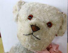 "Antique French Teddy bear 23"" light blue rayon cotton plush fur"