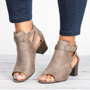 Women Block Mid Wide Heels Open Toe Sandals Ankle Strap Boots Casual Party Shoes