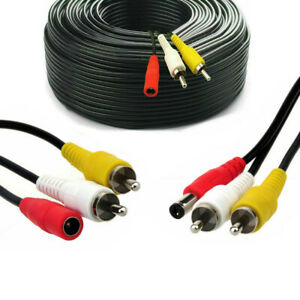 CCTV Camera Extension Cable Phono RCA Video Audio AV DC Power Black Lead 5 - 50m