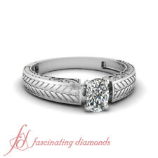 3/4 Carat Cushion Cut Diamond Solitaire Engagement Ring For Women White Gold GIA