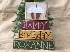 Primitive Country 4 pc Personalized Birthday Cupcake Shelf Sitter Wood Block Set