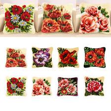 DIY Kreuzstichkissen, Knüpfkissen Kissen Selber Knüpfen Kissen-Blumen Muster